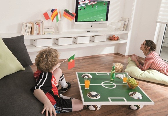 world cup football themed party food coffee table soccer field top