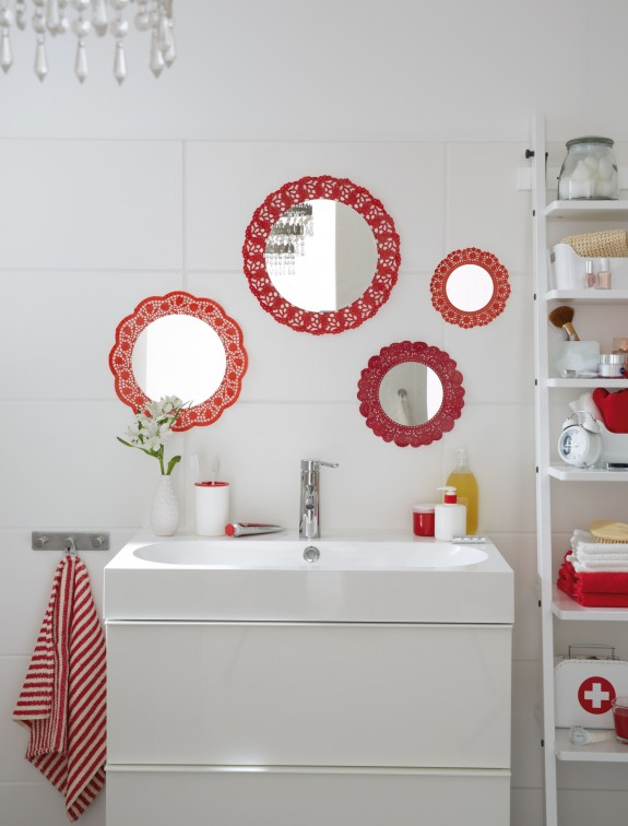 Diy Bathroom Decor Ideas Budget Wall Mirrors Red Doilies Frames