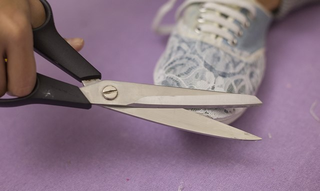 old sneaks refreshment diy shoes makeover idea scissors cut excess