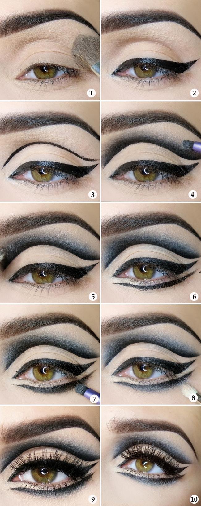 sexy halloween makeup ideas  tutorial eyeliner black silver shadow