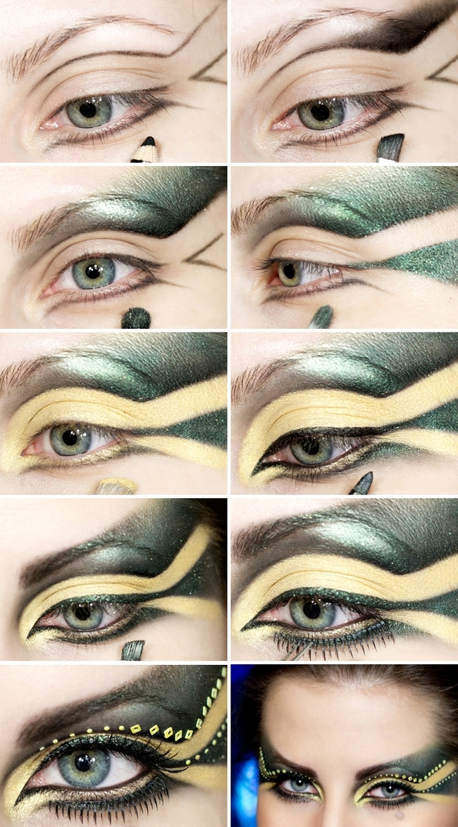 glamourous halloween makeup ideas women green yellow galactic