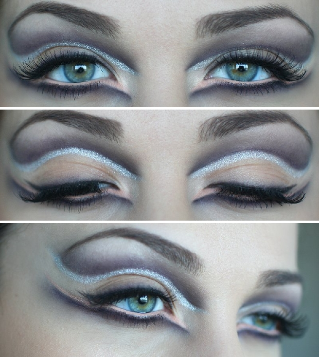 glamourous halloween face eye makeup for girls  tutorial silver purple liner
