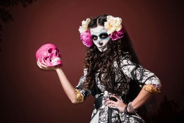 pink skull hamlet yorik motif halloween sugar skull makeup