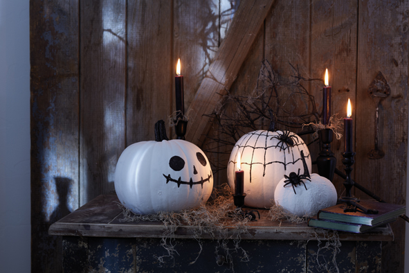 handmade halloween pumpkins white paint black glitter powder