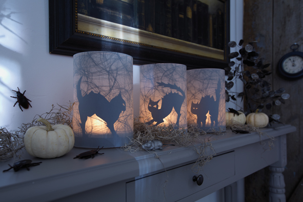 homemade halloween crafts candle lanterns black cats