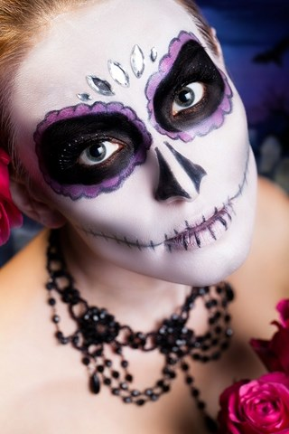 black necklace women white face sugar skull dark shadows halloween makeup