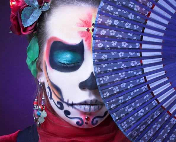violet fan white skull makeup idea colored earrings sugar skull makeup