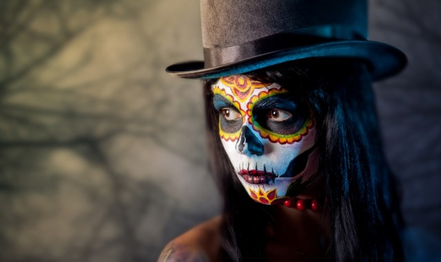 cylinder hat styling sugar skull makeup mexican halloween makeup