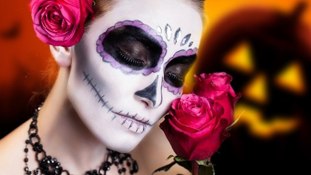 day of dead women violet halloween makeup sugar skull makeup