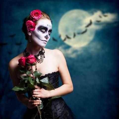 red roses pretty halloween art sugar skull black dress