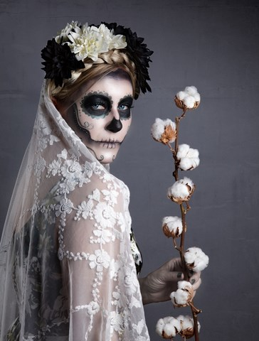 scary bride mexican girl halloween face paint sugar skull makeup