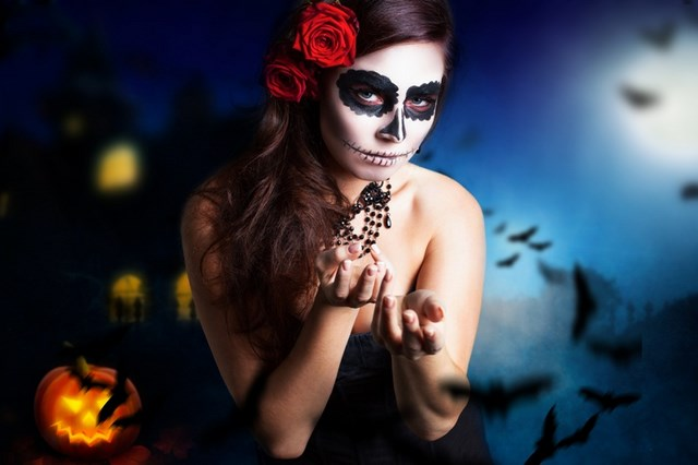 women face paint art halloween ideas sugar skull makeup