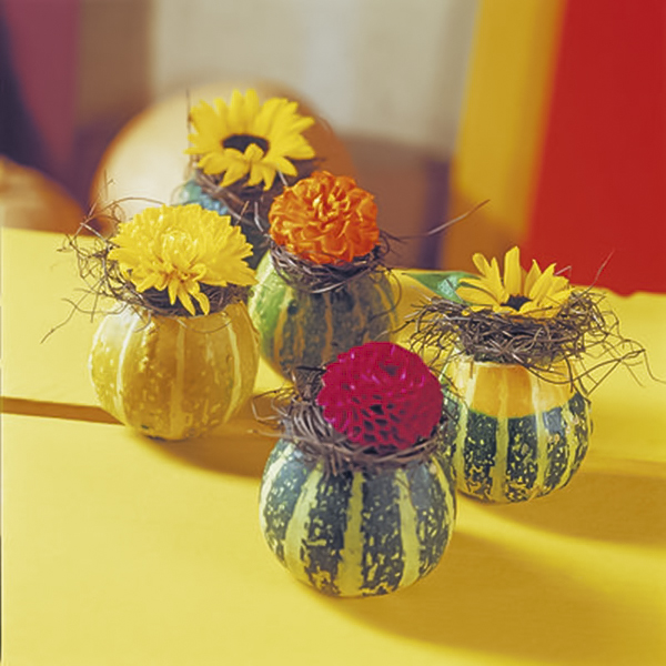diy fall decorating ideas ornamental mini gourds vases dahlias