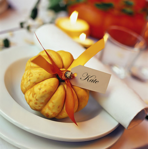 diy fall decorating ideas table ornamental pumpkin place card
