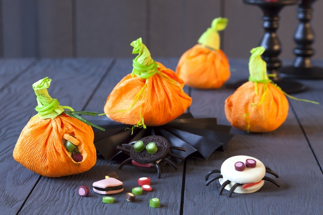 diy halloween decorations party crepe paper pumpkins goody bags