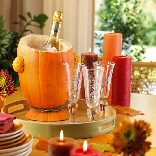 fall decorating ideas diy-wine-cooler-pumpkin