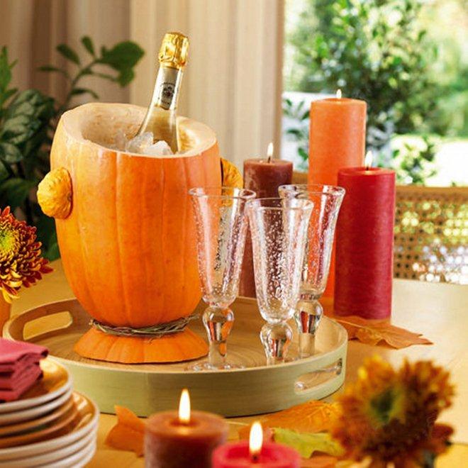 fall decorating ideas diy-wine-cooler-pumpkin