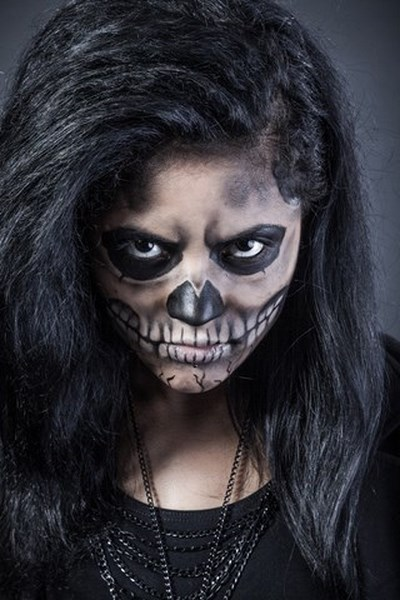 women skull effect body painting halloween makeup inspirations