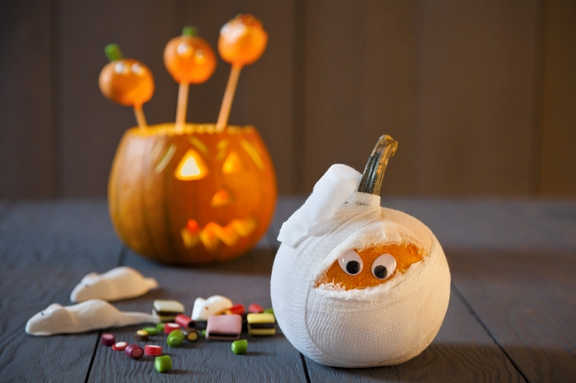 Homemade Halloween Decorations Mummy Gourd Googly Eyes Nice Ideas