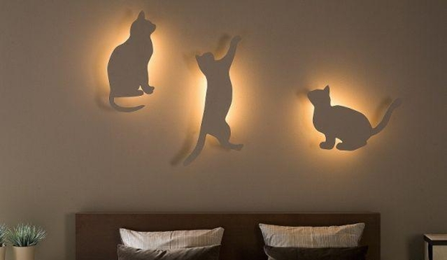 Diy bedroom lighting and decor idea for cat lovers for Lights for home decor