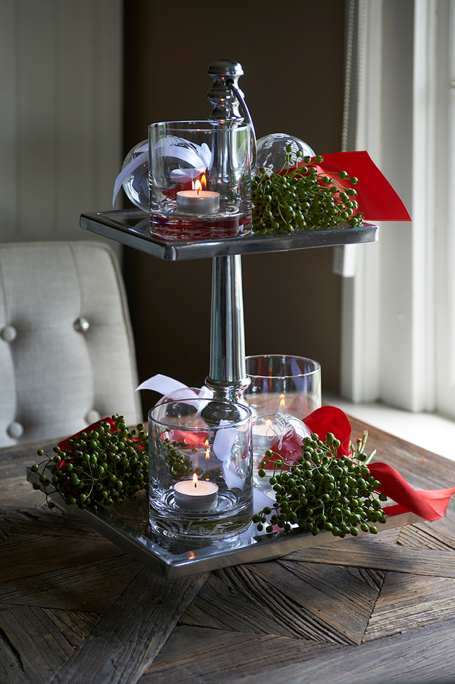 Diy christmas candle centerpiece cake stand whiskey