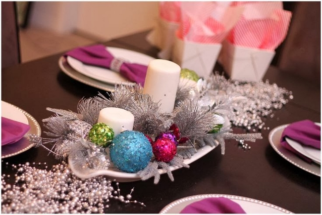 diy christmas candle centerpieces dining-table-silver-branches