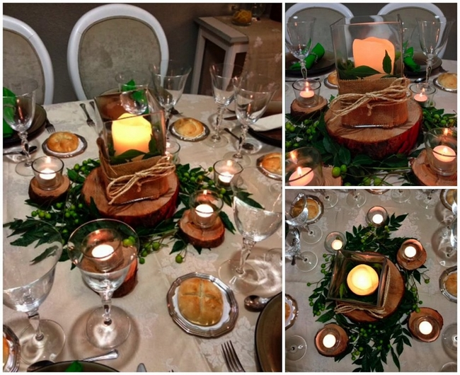 Diy christmas candle centerpieces table wood slices rustic