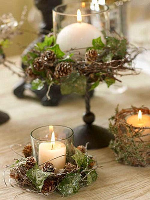 Diy christmas candle centerpieces 40 ideas for your table - Deco de noel table ...