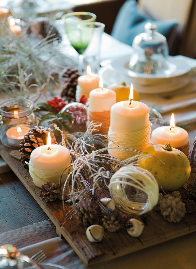 rustic-table-centerpiece-yarn-wrapped-candles-