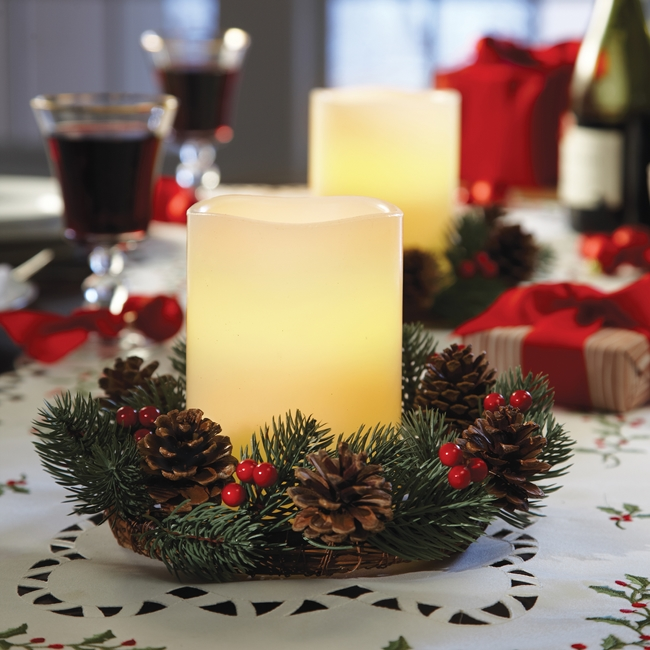 table-centerpiece-LED-Candle-Wreath-Set