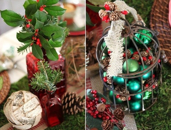fir branches christmas table setting ideas original vases country style decoration festive atmosphere bright christmas ornaments