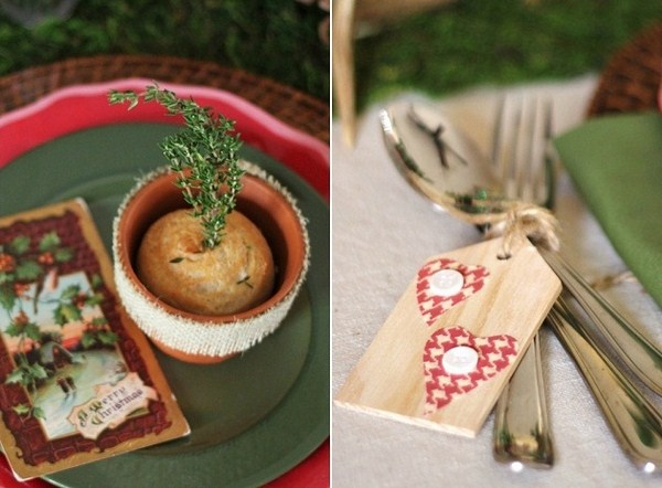 christmas table setting ideas discreet shades neutral colors baked muffin rosemary sprig country style decoration