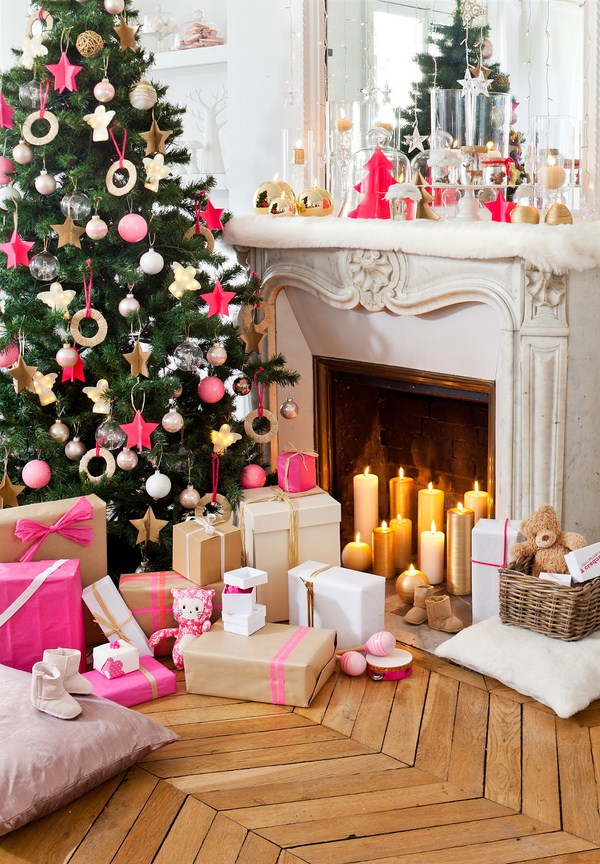 contemporary style pillar candles faux snow pink gold christmas tree ornaments