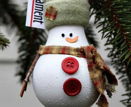 diy christmas ornaments light-bulb-snowman-hat-scarf-buttons