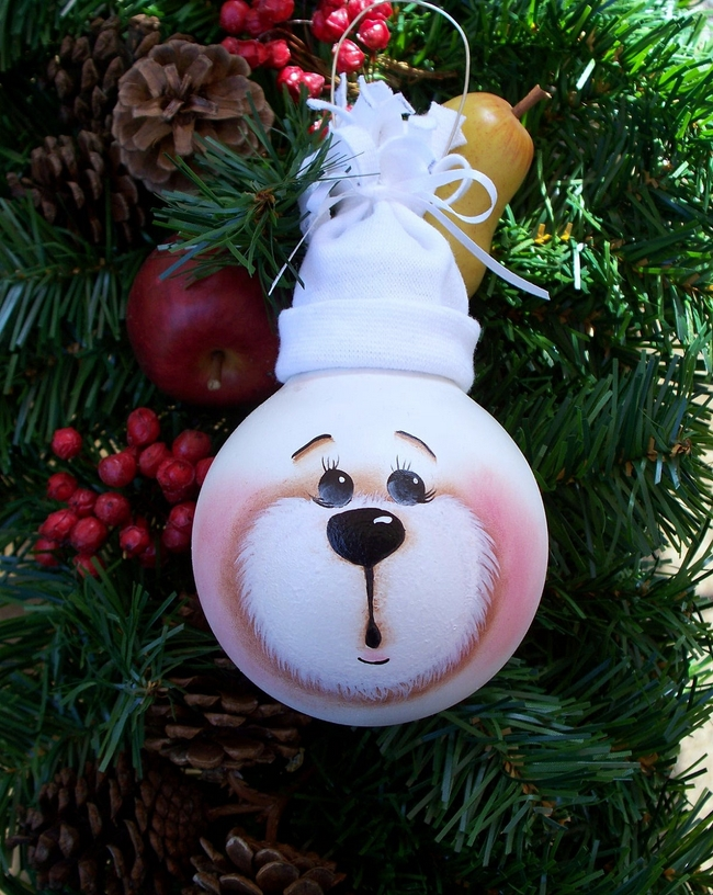 diy christmas tree ornaments light-bulbs-bear-face-hat