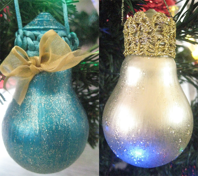 diy christmas tree ornaments light-bulbs-paint-glitter