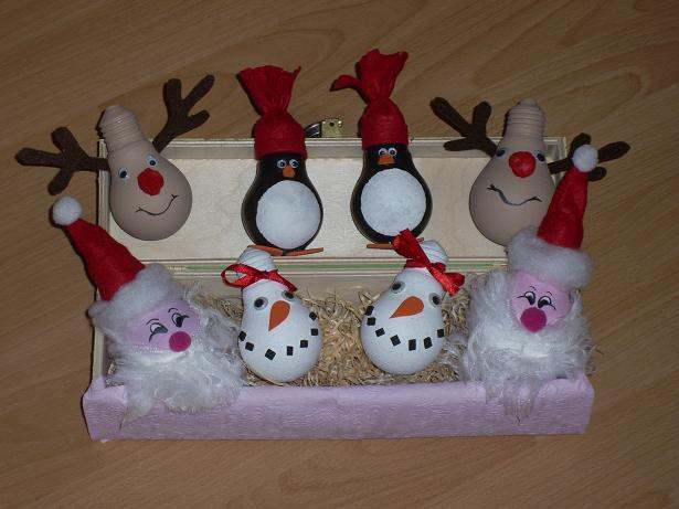 homemade-christmas-ornaments-light-bulbs-snowman-penguins-santa-rudolf