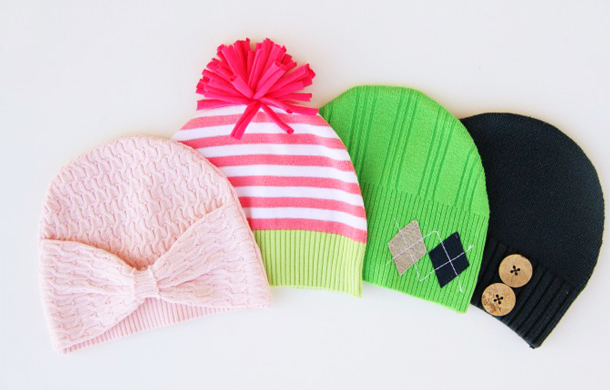 diy handmade winter hat tassel ornament repurposing old sweaters