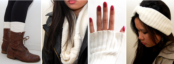 repurposing-old-sweaters-diy-winter-clothes-ideas-set-of-headband-socks-mittens