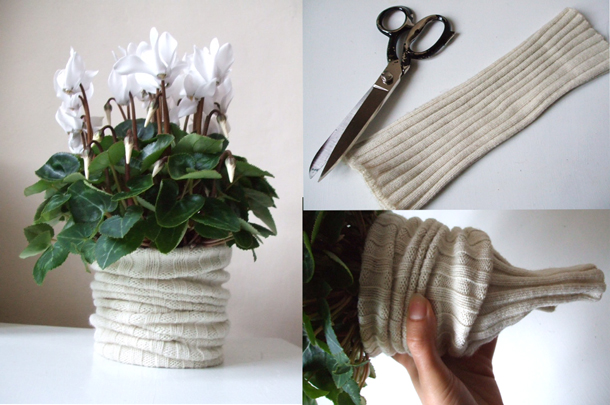 interesting knitting bouquet holder repurposing old sweaters