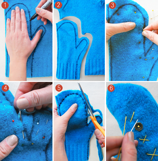 repurposing old sweaters how to make recycled sweater mittens
