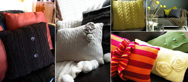 warm pillows sofa decoration idea repurposing old sweaters
