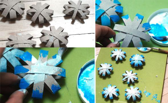 Christmas Crafts For Kids Cardboard Christmas Decorating Ideas  Snowflake Painting