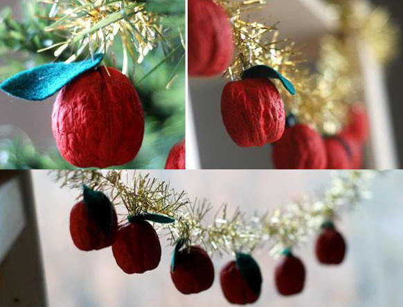 christmas kids craft walnuts garland red apples motive decoration