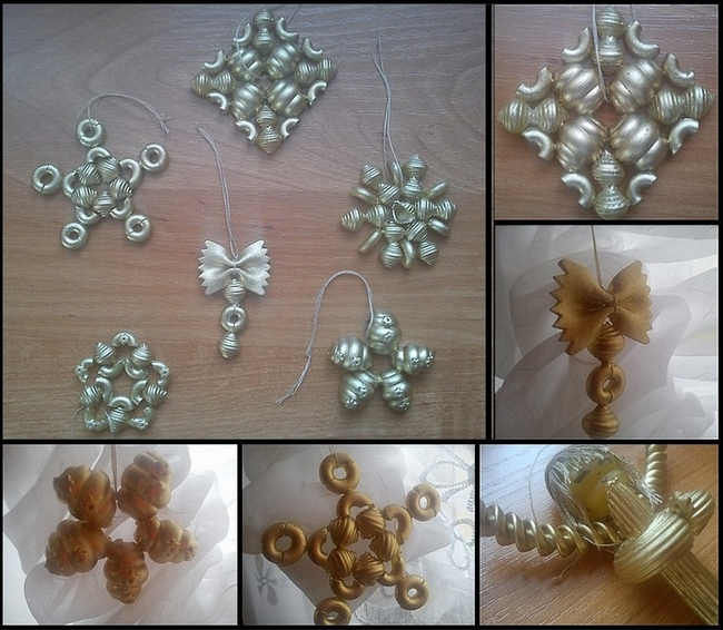 Diy christmas tree decorations pasta ornaments silver for Home made christmas decorations