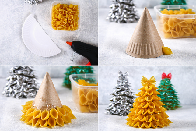 diy mini christmas tree from paper plate and pasta.jpeg