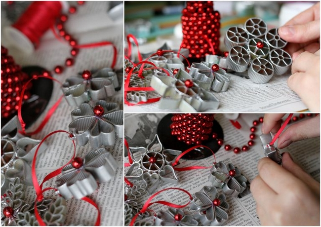 homemade christmas decorations silver-sprayed-pasta-ornaments