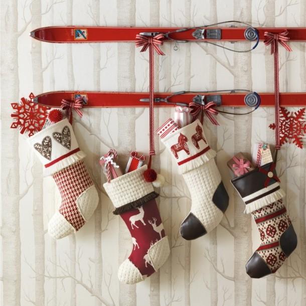 nordic ski kit wall arrangement scandinavian christmas decorations big handmade hanging gift socks