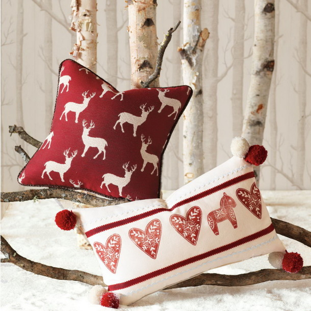 colored knitted pillows scandinavian christmas decorations embroidered with deer images