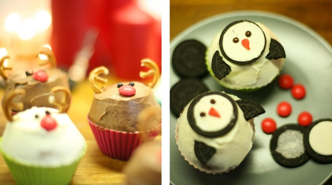 christmas cupcakes recipes reindeers or penguins - Christmas Dessert Decorations